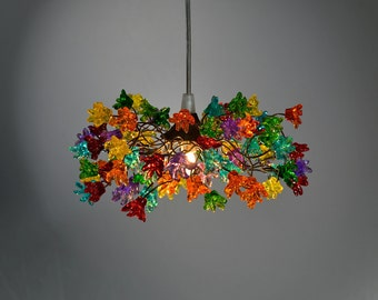 Ceiling Light Fixtures with multicolored jumping flowers for hall, bathroom, kitchen island or as decor