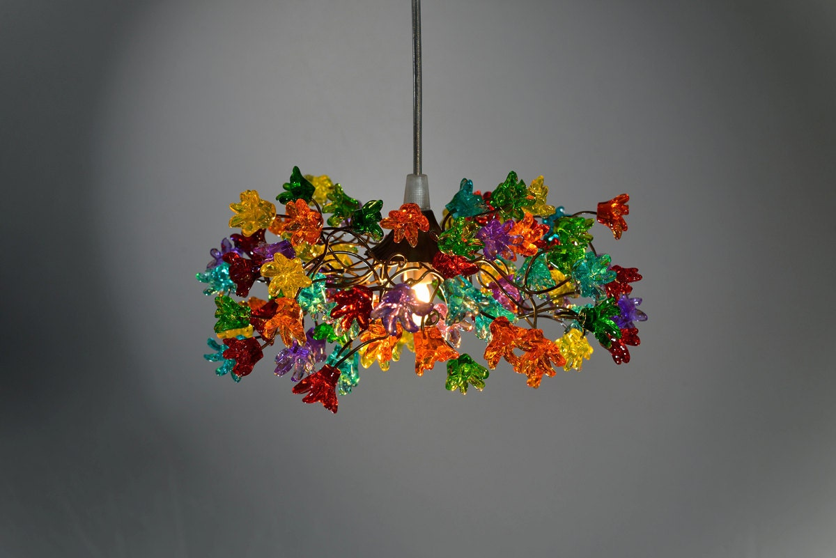 Ceiling light fixtures with multicolored jumping flowers for for How to make multi colored flowers
