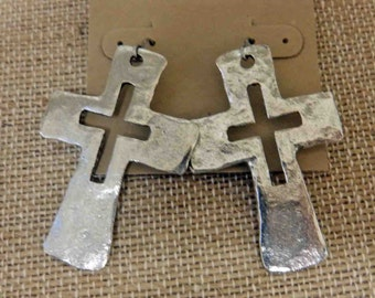 Large silver cross earring