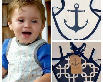 Bapron, Front Navy Anchor, Back Navy Nautical Chain