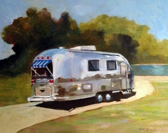 Airstream Trailer Vintage Trailer 9x12 Giclee Print
