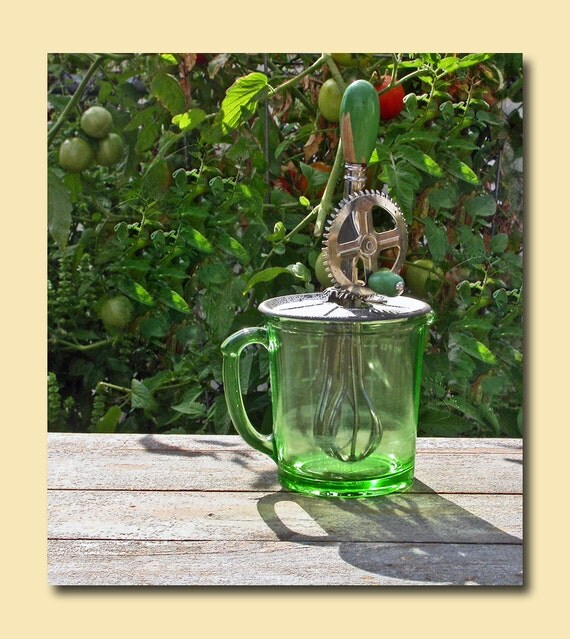 Hazel Atlas A&J Green Depression Glass Measuring Cup Beater Jar