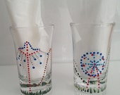 Hand Painted Dotted Carnival on Shot Glass - Set of 2