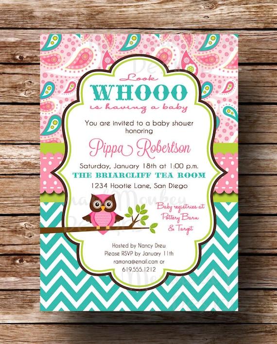 Owl Baby Shower Invitation Baby Girl By MermaidMonkeyDesigns
