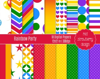 75% OFF Sale - Rainbow Party - 18 Digital Papers - Instant Download - JPG 12x12 (DP152)