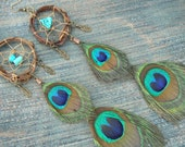 peacock dreamcatcher earrings coachella feather earrings PAIR dangle in tribal inspired tribal  boho belly dancer and hipster style