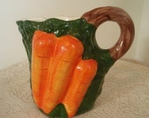 Large Ceramic Pitcher  Vintage Carrot decorated Pitcher  Retro Collectible Serving Pitcher 9 inches tall