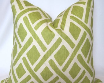 Decorator Pillow Cover - Throw Pillow-  Kravet - Treads -  New Leaf - Green -Off White - 18x18 20x20 22x22-Accent Pillow