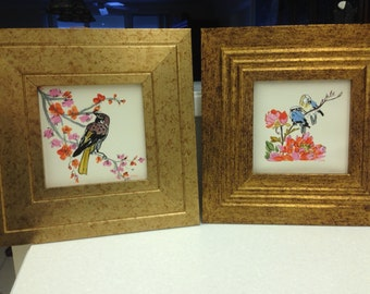 Set of 2 Japanese Inspired Bird/Flower Pictures in Gold/Copper Wood Frames