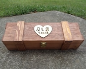 Personalized Wine Box Engraved Wood Rustic Vineyard Wedding Gift Box with Heart - BloominBridal