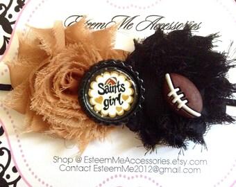 Saints Chiffon Rosette Headband: Girls Headband Saints Headband