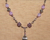 """Hammered silver link chain necklace with purple amethyst crackle square beads and lilac round glass wire wrapped beads 16"""""""