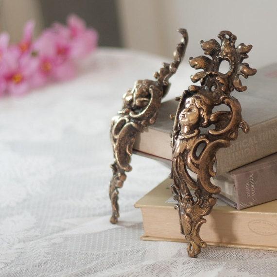 Antique Decorative Furniture Mounts Brass Victorian Decorative Architectural Hardware Pair Decorative Angels Cherubs