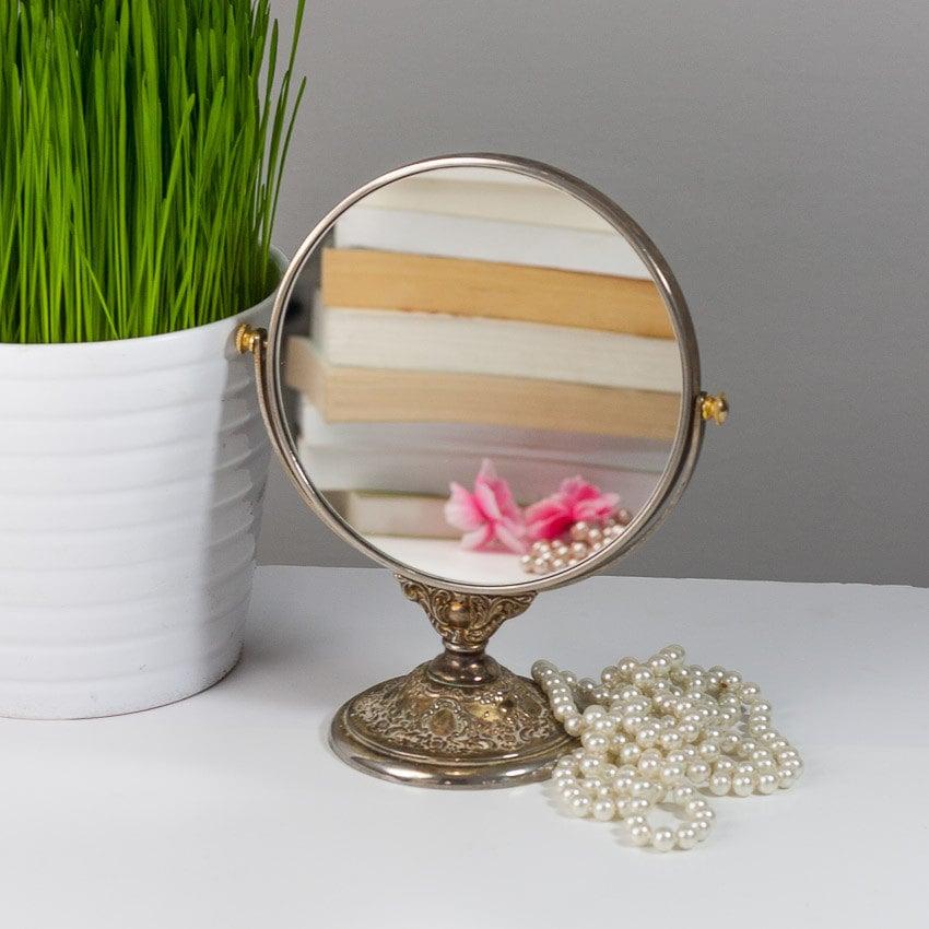 Makeup Mirror On Stand Vintage Vanity Mirror Metal Round