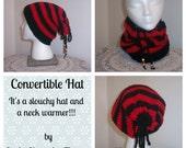 Slouchy Hat- Neck Warmer -Slouchy Beanie -Child Slouchy Hat - Womens Slouchy Hat- Mens Slouchy Beanie-Convertibale Hat- Crochet HatAdult Hat