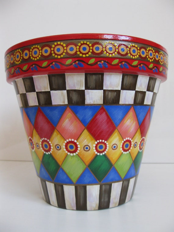 Whimsical flowers terracotta planter country checkered for Big pot painting designs