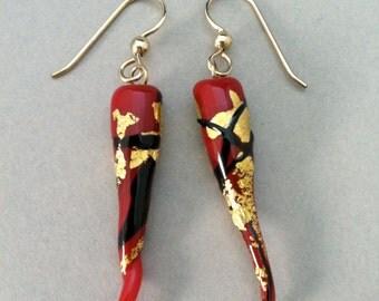 Lampwork Glass Chili Pepper Earrings