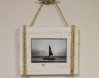 Shabby Chic Nautical Beach cottage 5X7 Rope Boat cleat Picture Frame in Distressed Whisper White
