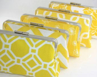Yellow Wedding Purses / Lemon Bridesmaids Clutches in Various Pattern / Design Your Own - Set of 5