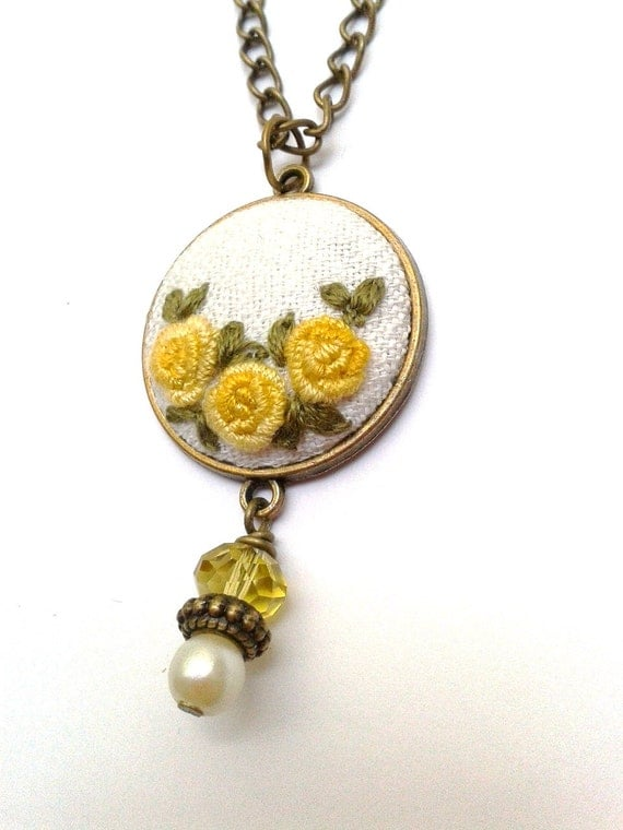 Items Similar To Vintage Style Yellow Roses Hand