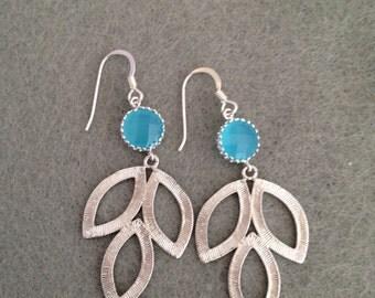 Sterling Silver Earrings, Marquise Leaf, Dangly Earrings