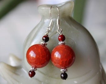 Round Red Fire Agate Earring, sterling silver hook