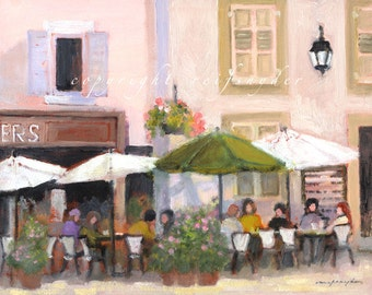 French Country cafe, canvas print, figures, France, gold green pink, table umbrellas, village street, outdoor restaurant, people dining