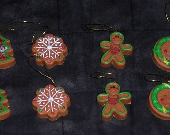 Gingerbread cookies craft pieces,polystone,8/pkg,Holiday,Christmas crafting,embellishment,mini ornaments