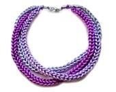 Purple knitted necklace Purple statement necklace Purple necklace made of satin cord in purple and lilac shades FREE SHIPPING WORLDWIDE