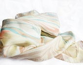 Lighter Yellow, Mint, Teal, Brown, and Peach Marbled Silk Scarf