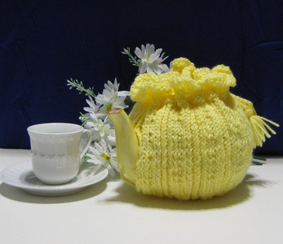 Yellow Hand Knit Tea Pot Cozy