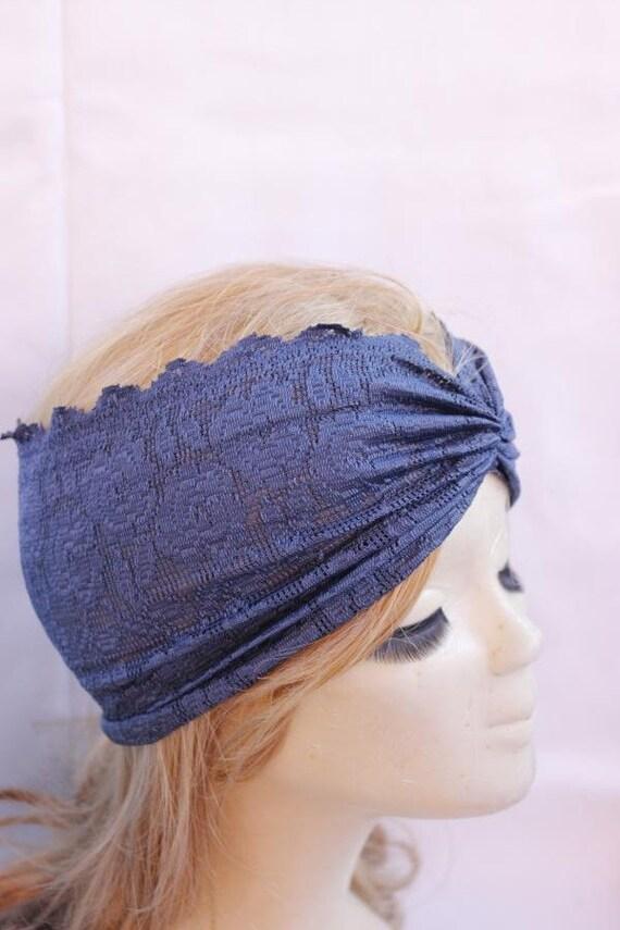 Navy Stretchy Lace headband ,Turban Headband Twist Stretchy Hair Bands, - Boho Headband Lace Turban Head Scarf