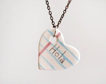 Hola Heart Notebook Ceramic Necklace