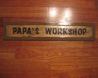 Papa's Workshop Sign - Routed - Workshop Sign - Grandpa's Workshop