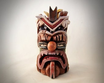 """SOLD -- """"Tiki"""" (hand-crafted sculpey & acrylic paint)"""