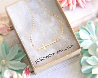 Tiny Gold Sideway Cross Necklace, Cross Necklace, Gold Cross Necklace, Flower Girl Necklace, Bridal Shower Gift -4001