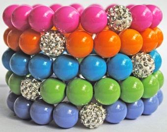 Summertime Pastels stretch bracelet with Swarovski Diso Pave Beads