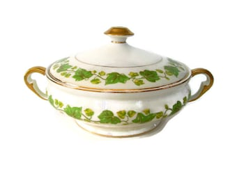 Vintage Pope Gosser China Serving Bowl with Lid American Ivy Pattern Discontinued 1947 Green Ivy 1920's Covered Vegetable Dish