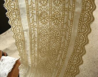 ivory lace trim, embroidered cotton lace fabric, antique lace trim, vintage lace fabric, hollowed trim, CMSR014