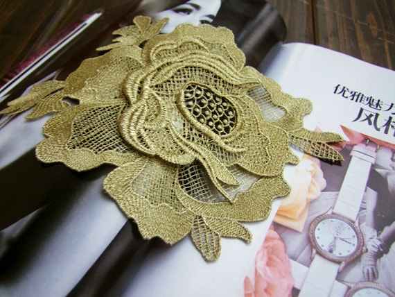 Gold rose Applique, retro lace applique, golden flower applique ...