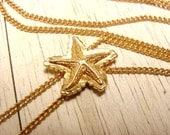 Avon Starfish Bolo Necklace (vintage retro 70s 80s gold tone ocean sea life animal pendant small little beach)