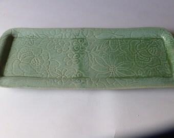 soft green lace rectangular tray