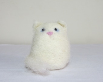 Needle felted cat complete with box and bedding, made with British wool. Cat gift. White cat.