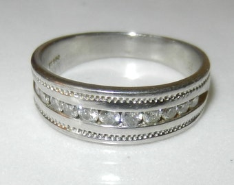 Reduced** Men's ZEI Platinum Wedding Band with Channel-Set Diamonds Ring Size10