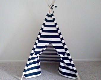 Teepee Black and White Play Tent- Kids Teepee  Stripe Tent  Play Tent Kids Tent , summer outdoors