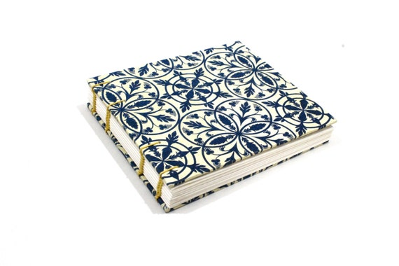 Handmade Notebook Journal, Sketchbooks, Photo album, Coptic stitched, Wedding, Diary, Scrapbook, Recycled paper, Vintage book-Yellow & blue3