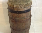 Rustic Wooden Antique Nail Keg with Cover Barrel Plant Pot