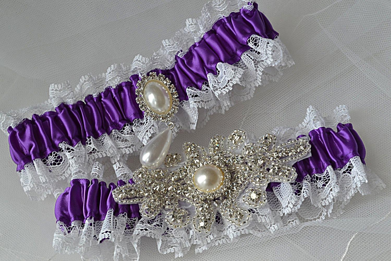 Wedding Garter Bridal Garter Set Purple With White Raschel