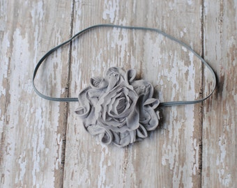 Gray headbands, baby headbands, Shabby Chic Swirl Flower Gray Headband Newborn Prop Baby Girl Headband Photography Prop