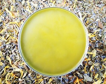 SALVE+ATION Organic Herbal Salve - Comfrey, Plantain and Calendula with Tea Tree and Lavender Oils - Large 4oz tin